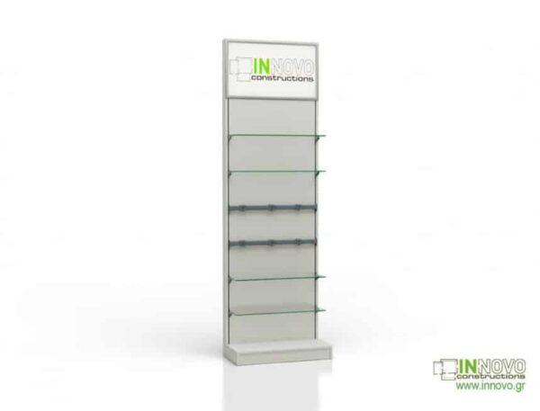 Βιτρίνα φαρμακείου D Standard column inox light panel