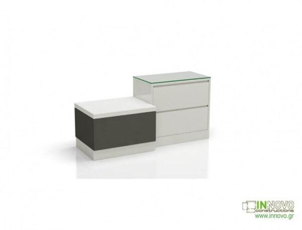 Καθιστικό φαρμακείου S Thiro double drawer white brown