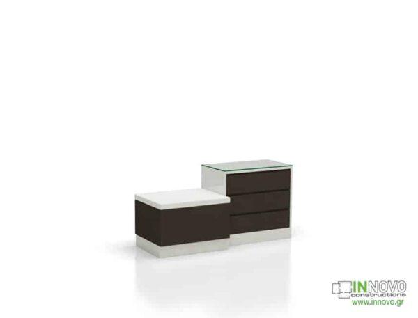 Καθιστικό φαρμακείου S Thiro triple drawer brown